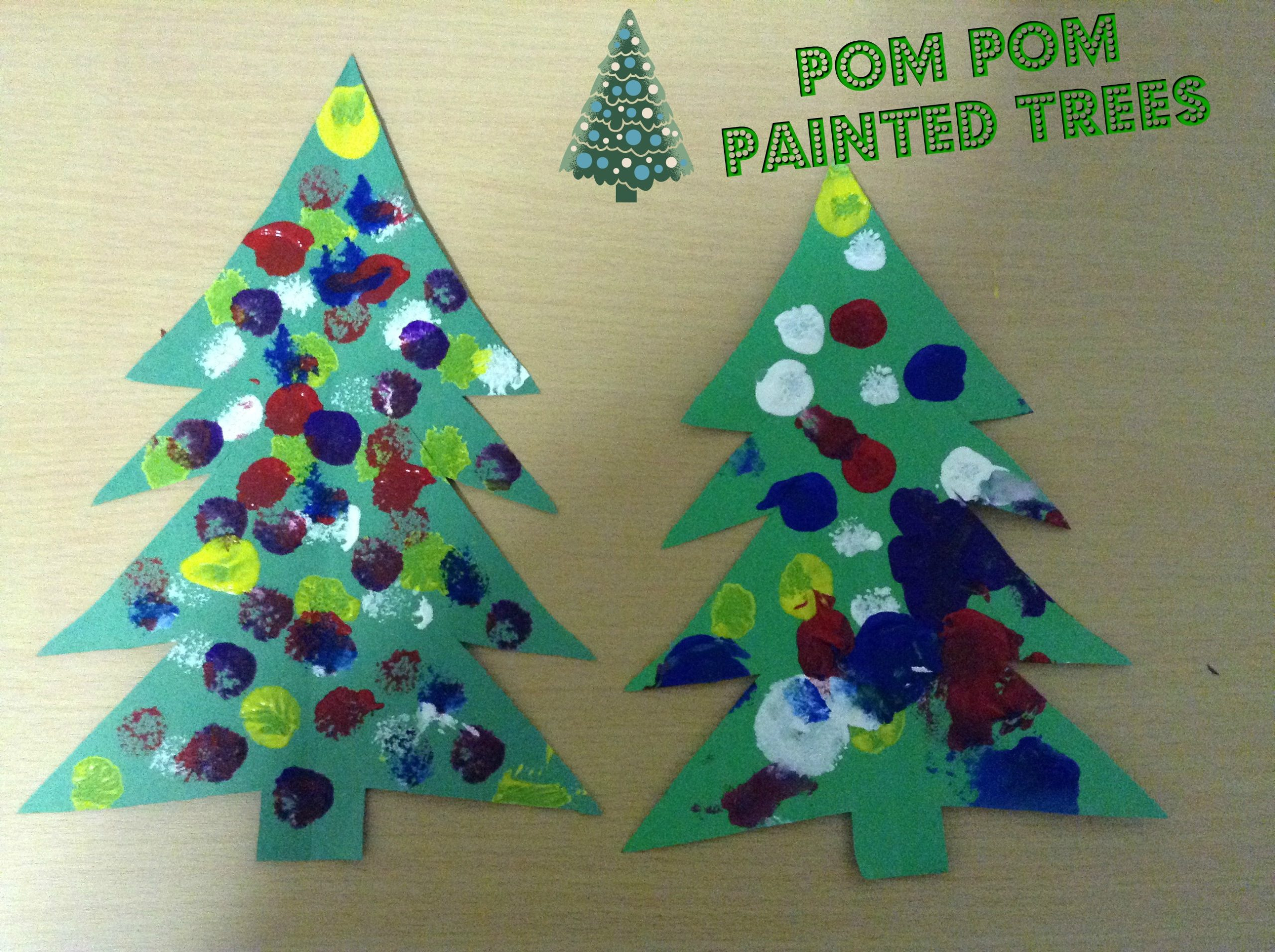 Pom Pom Painted Christmas Tree