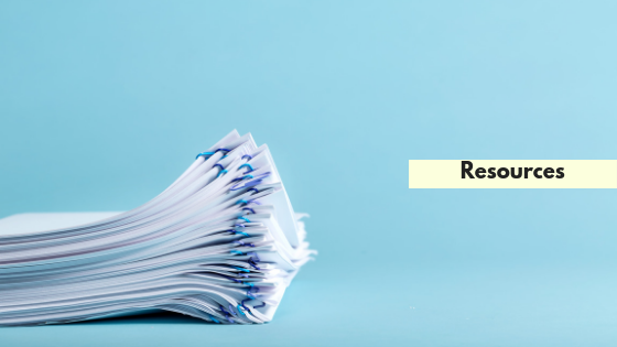 Resources title on blue background with a stack of papers in the corner.